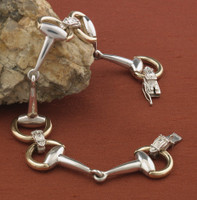 14k Gold and Sterling Silver Snaffle Bit Bracelet