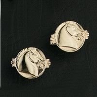 14K Gold Asian Horse Cufflinks