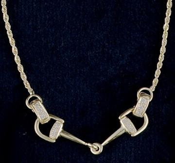 "14k gold bit necklace with .18ctw diamonds. Moveable bit ends. 17"" length."