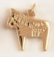 14k Gold Chunky Swedish Dala Horse Charm or Pendant