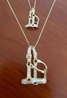 14k Gold Yellow or White Gold Small Diamond Halter Pendant