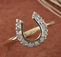 14k Gold Diamond Horseshoe Ring