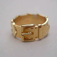 14k Yellow or White Gold Plaited Rein and Buckle Ring