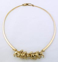 14k Gold Galloping Horses Neckpiece