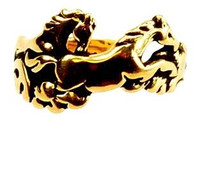 14k Gold Galloping Horses Ring
