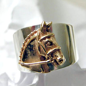 14k Gold Horse Head on Sterling Silver Ring