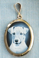 14k Gold Jack Russell Cameo Pendant
