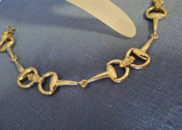 14k White or Yellow Gold Snaffle Bit Bracelet