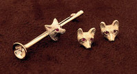 14k Gold Medium Fox Mask Earrings with Ruby Eyes
