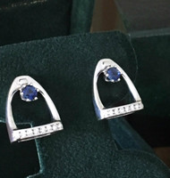 14k gold stirrup earrings with sapphire and diamonds.