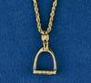 14k Gold Medium Stirrup Pendant with Diamonds