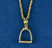 14k Gold Medium Stirrup Pendant with Diamonds