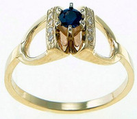 14k gold pave diamond stirrup ring with center sapphire