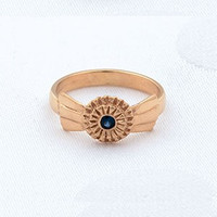 14k Gold Horseshow Ribbon Ring with Sapphire