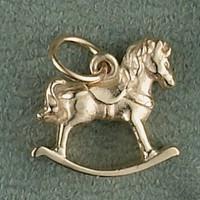 14K Gold Rocking Horse Charm or Pendant