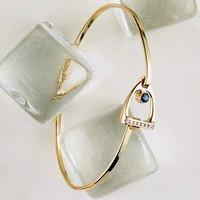 14k Gold Stirrup Bangle Bracelet with Sapphire and Diamonds