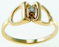 14k gold stirrup ring with diamond