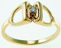 14k gold stirrup ring with diamond