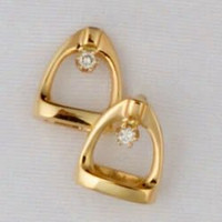 14k Gold Stirrup Stud Earrings with Diamond