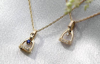 14k Gold Tiny Stirrup Pendant with Diamonds