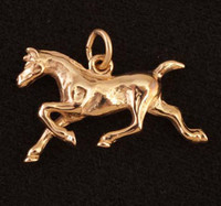 14k Gold Trotting Horse Charm or Pendant