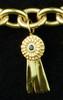 14k Medium Ribbon Charm or Pendant with Sapphire