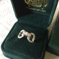14k Yellow or White Gold Designer Snaffle Bit Ring with Diamonds