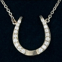 14k White Gold Designer Horseshoe Necklace Pendant