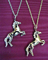 14k White Gold Horse Pendant Necklace with Chain