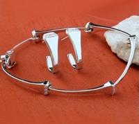 14k White Gold Horseshoe Nail Bracelet with Diamonds
