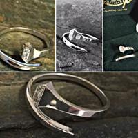 14k White or Yellow Gold Horseshoe Nail Ring with Diamonds