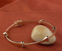 14K Yellow Gold Horseshoe Nail Bracelet With Diamonds