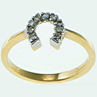 14k Yellow Gold Petite Horseshoe Ring with Diamonds