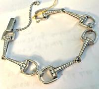 18k Gold Designer Bit Bracelet with Diamonds