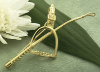 18k Yellow or White Gold Designer Crop and Stirrup Pin Brooch