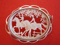 Antique Riders on Horseback Oval Celluloid Brooch Pin.