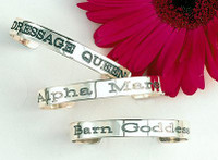 Sterling Silver Dressage Queen, Alpha Mare, Barn Goddess Barn Bangles