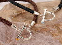 Brown or Black Thick Leather Neckpiece with Sterling Silver Horse Bit