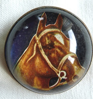 Chestnut Horse with Blaze and Bridle on a Sapphire Blue Bridle Rosette Pin Brooch.