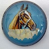 Chestnut Horse with Blaze on Bright Blue Bridle Rosette Pin Brooch