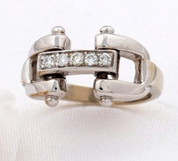 14k White Gold Designer-Style Bit Ring with Diamonds.