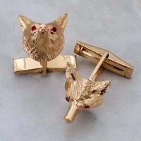 14k Gold Fox Mask Cuflinks With Ruby Eyes.