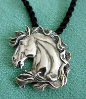 Majestic Horse Head Pendant on Black Silk Cord
