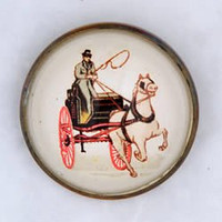 Original White Horse and Carriage on White Bridle Rosette as Pin