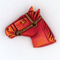 Red Bakelite Horse PIN.