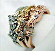 Stacking Horse Rings in 14k White, Yellow and Rose Gold