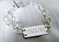 """Sterling Silver """"Tin Cup""""  ID Bracelet with Toggle Closure"""