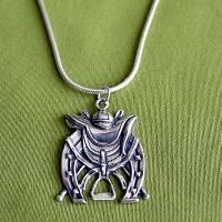 Sterling Silver Art Deco Equestrian Motif Pendant Necklace