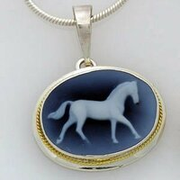 Sterling Silver Blue Cameo Horse Pendant Necklace