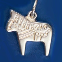 Sterling Silver Chunky Dala Horse Pendant or Chunky Charm